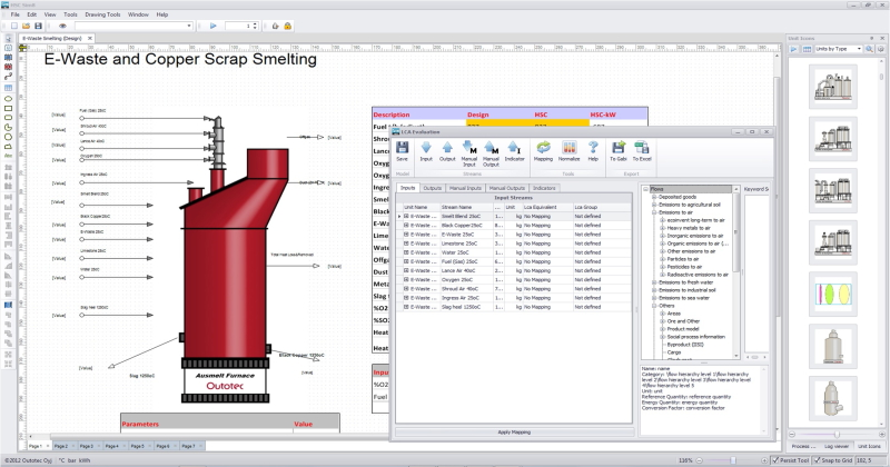 HSC Chemistry, Software for Process simulation, Reactions Equations
